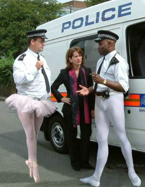 Police Offer wearing ballerina skirt