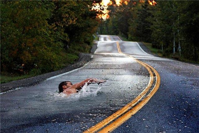 Taking a swim on the road