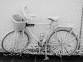 Frozen bike after ice snow